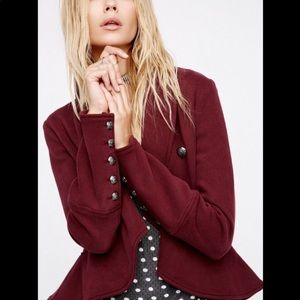 Free People Burgundy Femme and Flare Knit Jacket